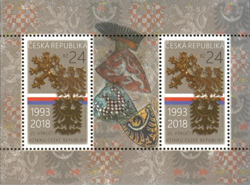 Česká pošta slaví 25. výročí vzniku republiky poštovním aršíkem