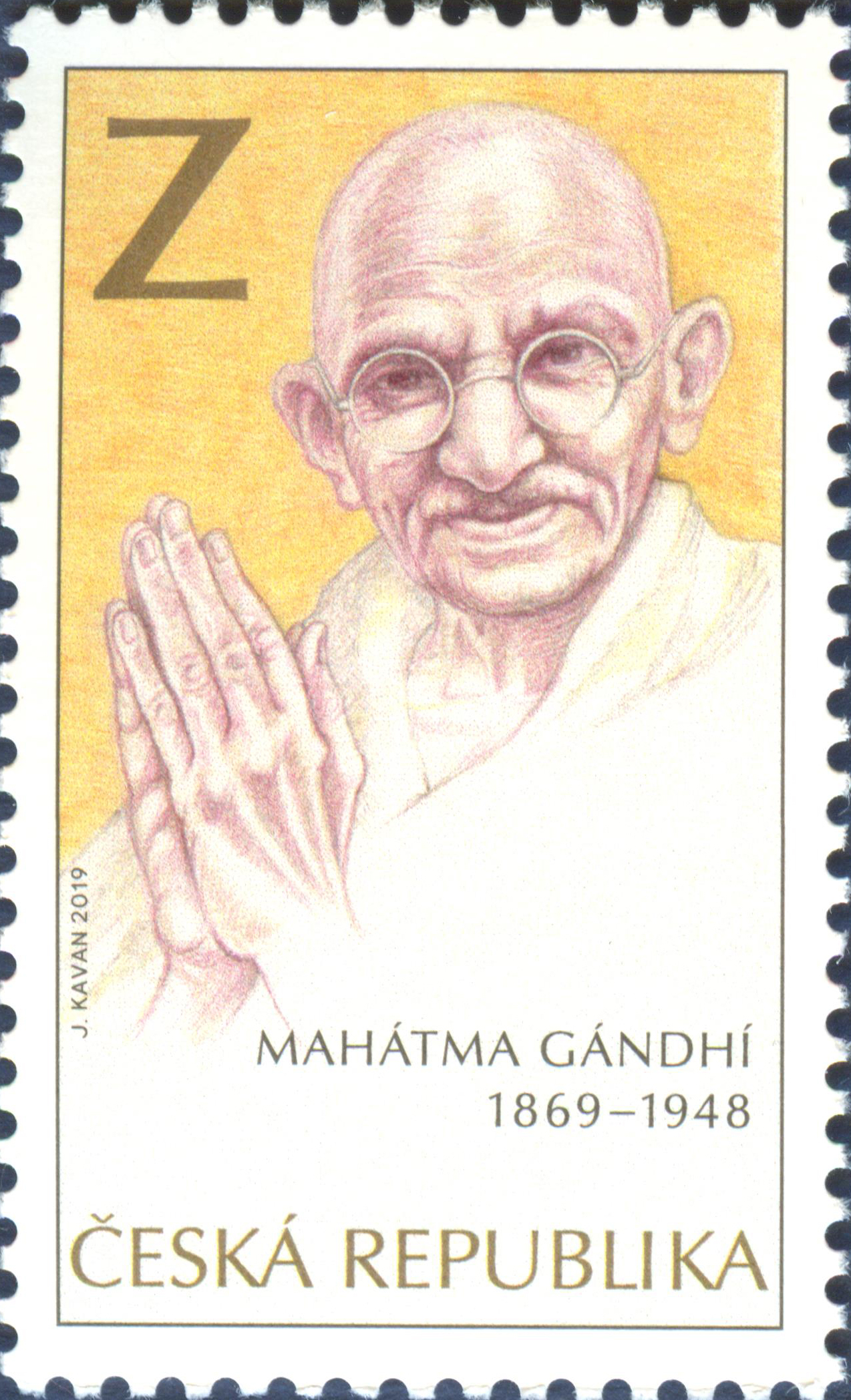 Mahatma Gandhi as the motif of a new stamp - 2019 - Česká pošta
